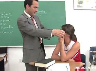 brunette cheerleader gets a special lesson from her professor