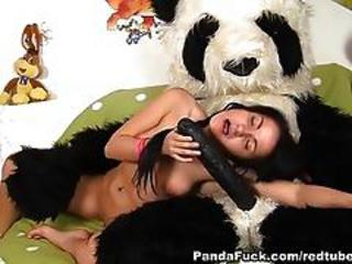 role-playing with a toy bear with a huge by a