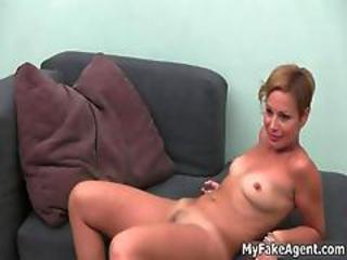 Sexy Blonde Babe Gets Her Shaved Cunt