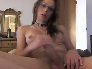 Amateur Shemale Jerks off & Swallows Own Cum On Cam