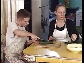 Kitchen Mature Mom Outdoor Russian