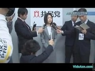 Asian Girl In Costume Getting Her Small Tits Rubbed Pussy Fingered While Talking With The Reporters In Front Of The Cameras