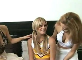 Cheerleader Lesbian Teen Threesome Uniform