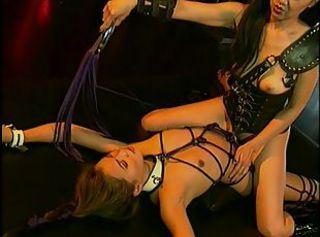 Asian mistress playing with her slave