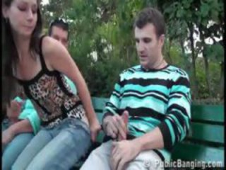 Clothed Jeans Outdoor Public Teen Threesome