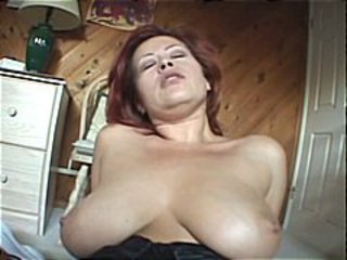 Busty mature redhead gets a big cock to swell up increased by thing embrace for cumshot