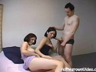 Threesome Ends In Big Double Facial