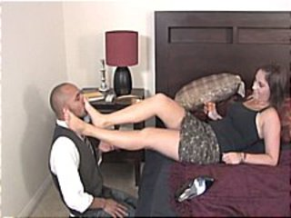 Cute brunette gets the butler to take off her heels increased by kiss increased by lick her sexy feet
