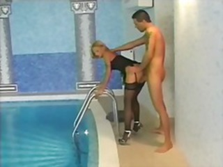 Doggystyle European  Pool Pornstar Stockings