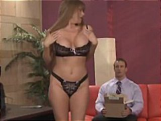 Horny maintenance man watches the boss bang the busty secretary