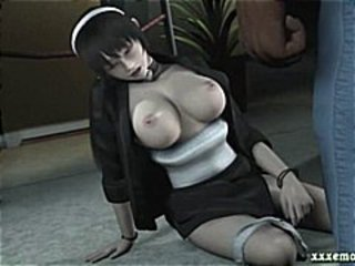 3D animated chick in a maids uniform licking an old black dick