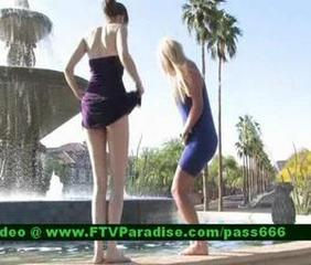 Isobel, from ftv girls, teen redhead girl outside in a fountain with her girlfriend posing tits and pussy