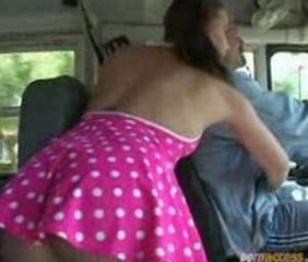 Schoolgirl alone in the bus