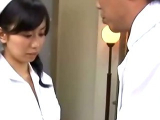 Hungry asian nurse sucks on cock