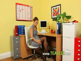 Ultra sexy secretary fingering in office