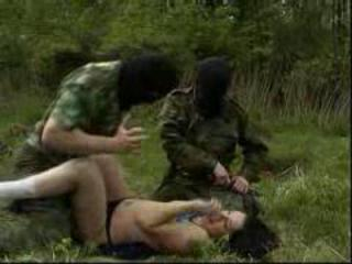 Young brunette raped in the forest by guys in masks