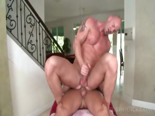 Hot bodied gay masseur riding hard straight dick