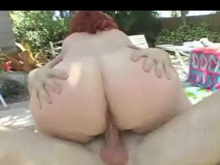 Chubby Outdoor Redhead Riding
