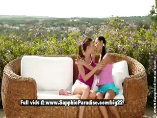 Devin with an increment of Juliette cute superb lesbos kissing with an increment of teasing outdoor