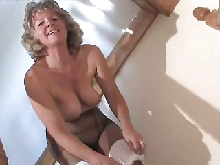 Loved Granny In Black Pantyhose Toying Insusceptible to The Steps