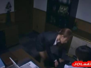 Office Lady On Her Knees Giving Blowjob Getting Her Mouth Fucked By Her Boss In The Office