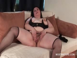 Hairy Masturbating Mature Stockings