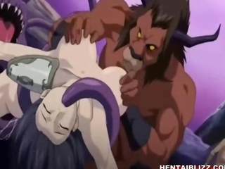 Busty hentai girls lay on monsters groupfucked
