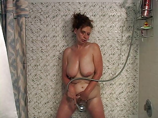 Amateur Bathroom Big Tits Masturbating Mature MILF Natural SaggyTits