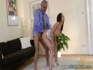 Amazing British Daddy Doggystyle European Old and Young Teacher Teen