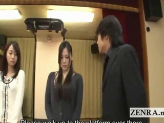 Subtitled indebted and demure Japanese wives striptease