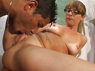 Glasses Licking  Pussy  Shaved Teacher