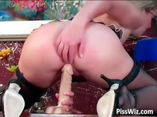 Dildo Masturbating Mature Stockings Toy