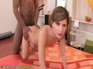 Justine is a short-haired blonde with a flat chest who..