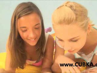 Two teen chicks making love