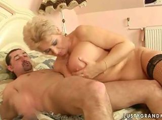 Busty old lady enjoys hot sex