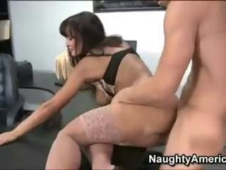 Busty brunette secretary in sexy lingerie gets banged doggy ...