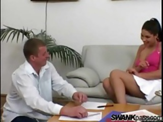 Sexy girl in a skirt seduces him and gets pussy licked tubes