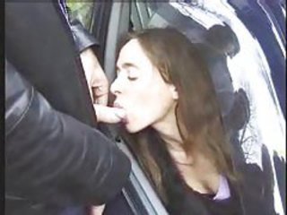 Guys masturbate to classy girl in a car tubes