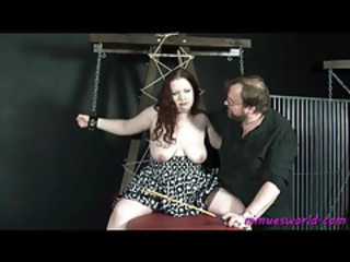 Chained take fat chick in a dress suffers tubes