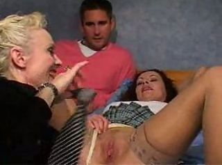 British European Mature Mom Old and Young Pussy Stockings Threesome