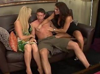 Big tit milfs have hot threesome with hung stud