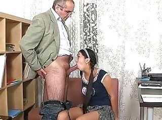 Blowjob Old and Young Pigtail Teacher