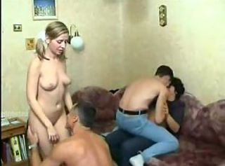 Two amateur couples enjoy hot foursome drilling with cumming at home.
