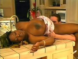 Big Tits Ebony Interracial Kitchen Licking  Natural Pornstar
