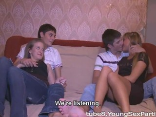 Swinger sex warming up teens cocks and pussies