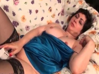 Chubby Masturbating  Stockings Toy Wife