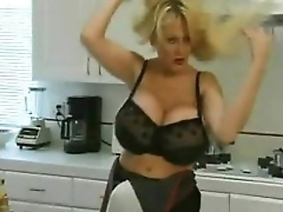 Blonde With Enormous Juggs Nailed In The Kitchen