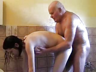 Daddy Daughter Doggystyle Old and Young Showers Teen