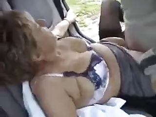 British granny making out Christine outdoor