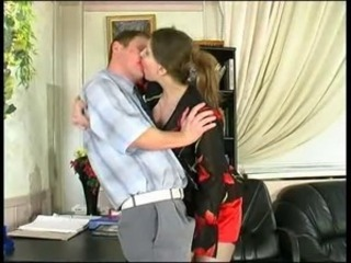 Kissing Mature Office